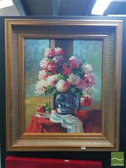 Sale 8552 - Lot 2028 - Artist Unknown Still Life Framed Oil on Canvas