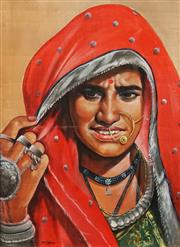 Sale 8619 - Lot 2039 - Artist Unknown - Red Sari 63 x 45.5cm