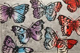 Sale 8675 - Lot 549 - David Bromley (1960 - ) - Butterflies 75.5 x 112cm