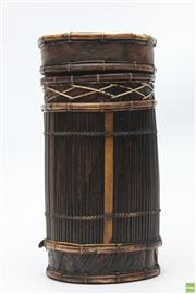 Sale 8654 - Lot 65 - Asian Bamboo And Rattan Container With Lid
