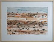 Sale 8734A - Lot 73 - Ross Manwaring - Tanami Desert Landscape Lines 65 x 95cm (frame size: 99 x 126cm)
