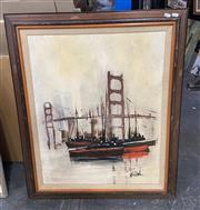 Sale 9004 - Lot 2072 - Vintage paining of Brooklyn Bridge, 93 x 77cm (frame), signed lower right
