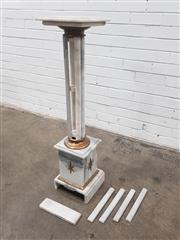 Sale 9080 - Lot 1001 - A marble pedestal with fluted stem & brass mounts - damage to stem & base (h:107.5 x w:26cm2)