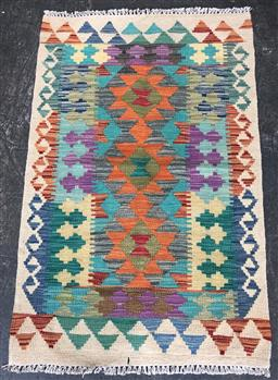 Sale 9112 - Lot 1037 - Hand knotted pure wool Persian kilim in yellow orange and green (120 x 80cm)