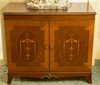 Sale 8392H - Lot 101 - A mahogany sideboard with marquetry, ormolu and cane sides, H 79 x W 90 x D 44cm