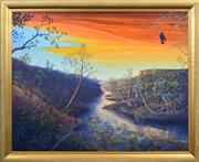 Sale 8415 - Lot 513 - Heinz Steinmann (1943 - ) - End of a Day, Shepard Creek Jowalbinna, 2008 88 x 111cm