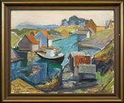 Sale 8459 - Lot 590 - Olav Ansgar Larssen (1897 - 1967) - From Øygarden outside Bergen, 1948 48.5 x 59.5cm
