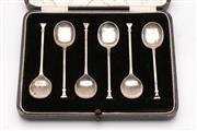 Sale 9052 - Lot 321 - Cased set of six sterling silver teaspoons marked Birmingham, SL