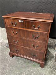 Sale 9068 - Lot 1024 - Georgian Style Walnut Chest of Five Drawers, with cross-banded top & bracket feet