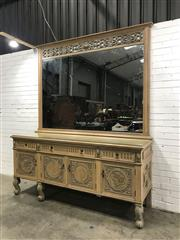Sale 9071 - Lot 1007 - Ornately Carved Italian Style Mirrored Back Sideboard with Pictorial Doors (H:255 W:215 D:65cm)