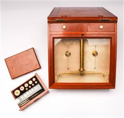 Sale 9114 - Lot 6 - Oertling Small Portable Assay Scale with Weights, London