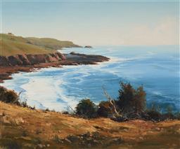 Sale 9116 - Lot 512 - John Wilson (1930 - ) Gerringong Headland, South Coast NSW oil on canvas on board 60 x 75 cm (frame: 80 x 95 x 5 cm) signed lower left