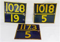 Sale 9142A - Lot 5022 - Mid-century Indian Railway posts enamel signs, 27 x 27cm each (3)