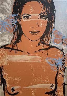 Sale 9214A - Lot 5032 - DAVID BROMLEY (1960 - ) Belinda with Butterflies screenprint ed. A/P (unframed) 112 x 77.5 cm signed lower right