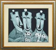 Sale 8330A - Lot 133 - Kevin Charles (Pro) Hart (1928 - 2006) - Untitled (Card Players) 48 x 58cm