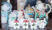 Sale 8375A - Lot 63 - A shelf lot of Christmas wares including Lladro bells, snowmen and bell serviette rings etc