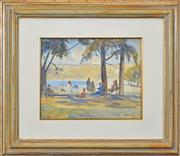 Sale 8408 - Lot 563 - Albert Henry Fullwood (1863 - 1930) - Untitled (Picnic by the Water) 30.5 x 39cm