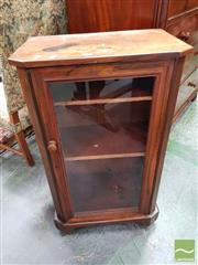 Sale 8485 - Lot 1042 - Victorian Inlaid Walnut Pier Cabinet, with glass panel door & on castors