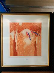 Sale 8671 - Lot 2038 - Peter Hickey - Rosellas, colour etching, ed. AP, 82.5 x 76.5cm (frame size), signed lower right