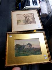Sale 8682 - Lot 2077 - Edwin Viner (1867 - ), Country Homestead, watercolour, 35 x 45cm (frame size), signed lower left & another framed watercolour