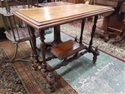 Sale 8917 - Lot 1043 - Unusual Early 20th Century Silky Oak & Blackwood Occasional Table, with turned legs & stretcher base