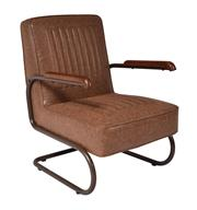 Sale 8957T - Lot 42 - A Pair of Industrial Inspired Armchairs in Vintage Brown Faux Leather W 64 CM X D 75 CM X H 90 CM