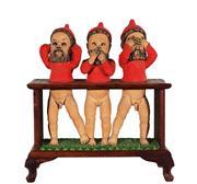 Sale 9021 - Lot 584 - Frederick Chapeaux (1945 - 1994) - Gnomes (Hear No Evil, Speak No Evil, See no Evil) h. 62 cm, w. 58, d. 25 cm