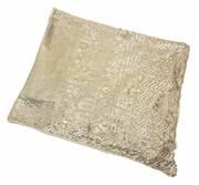 Sale 9054 - Lot 357 - AN EGYPTIAN ART DECO ASSUIT SILVER TONE SHAWL; cream cotton net applied with silver on copper geometric pattern to rolled edges, siz...