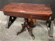 Sale 9068 - Lot 1071 - Regency Mahogany Card Table, with D shaped top, turned pedestal & outswept legs with brass paw castors