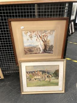 Sale 9147 - Lot 2016 - Two early Australian watercolours by Rupert Mc Mullen  Gums at Camden, and a country town scene initialled J.L, frame: 50 x 52 and...