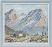 Sale 8375A - Lot 64 - Artist Unknown - European Mountain Scene 27 x 30 cm
