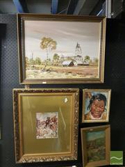 Sale 8552 - Lot 2062 - 2 Works: John John Rural Scene Framed Acrylic on Board, SLL with a Framed Norman Lindsay Print