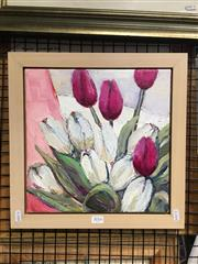 Sale 8726 - Lot 2016 - Val Landa (1940 - ) - Pink and White Magenta (Tulips) 30 x 30cm