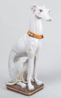 Sale 8960J - Lot 22 - Large, probably Italian ceramic Greyhound, with yellow collar & seated on cushion (some old restoration to tail area), H 125 x W 45...