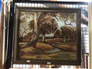 Sale 8853 - Lot 2058 - J Stevenson - Australian Countryside oil on board, signed lower right
