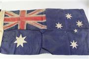 Sale 8944 - Lot 36 - Vintage flags incl. Australian flag (46cm x 90cm), Union Jack (46cm x 90cm), and a Maritime flag (174cm x 85cm)