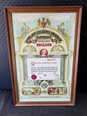 Sale 8979 - Lot 1004 - Framed Royal Order of the Buffaloes Certificate (h:61 x w:41cm)