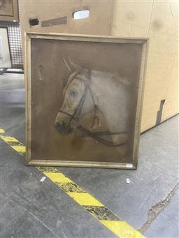 Sale 9111 - Lot 2070 - An early 20th century portrait of a horse, oil on canvas (AF) frame: 49 x 44 cm, signed W. Blair.
