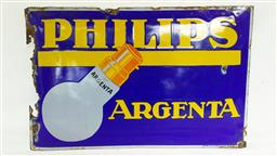 Sale 9142A - Lot 5024 - French mid-century advertising enamel sign for PHILIPS ARGENTA Light Bulbs , 29 x 45 cm