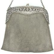 Sale 8314 - Lot 61 - German Silver 800 Standard Ladies Mesh Cherubic Purse