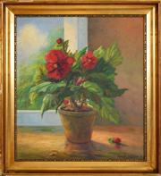 Sale 8411A - Lot 5093 - Lars Hendrik Kliim (1891 - 1942) - Still Life, 1931 (Red Flowers in Pot) 48 x 43cm