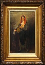Sale 8443 - Lot 575 - C20th Hungarian School (XX) - Peasant with Red Headscarf 35 x 56.5cm
