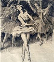 Sale 8544A - Lot 5003 - Daryl Lindsay (1890 - 1976) - Dance De Cygnes - Ballet Ruses, Swan Lake 1937 45 x 41cm