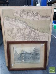 Sale 8544 - Lot 2089 - Collection of Prints & Pictures incl NSW Railway Map 1934 and signed sketch by T.A Oldfield, Steyning Lodge, dated 1895