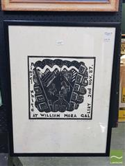 Sale 8552 - Lot 2049 - Nigel White - Nigel White At William Mora Gallery, 1987 Woodblock Print (Frame: 64 x 49cm) Signed lower right
