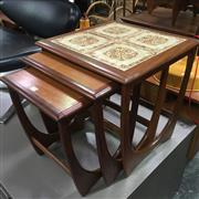 Sale 8643 - Lot 1002 - G Plan Teak Nest of Tables with tiled top