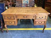 Sale 8666 - Lot 1085 - Louis XV Style Oak Bureau Plat, with parquetry top, five shaped panel drawers & cabriole legs