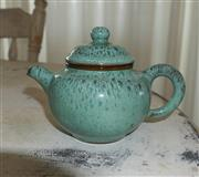 Sale 8858H - Lot 27 - Chinese Turquiose Yixing Glazed Teapot, Stamped to Base, H 7 x W 15 cm -
