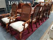 Sale 8896 - Lot 1085 - Timber Seven Piece Dining Setting incl. Parquetry Top Table with Two Leaves & Six Rattan Back Chairs