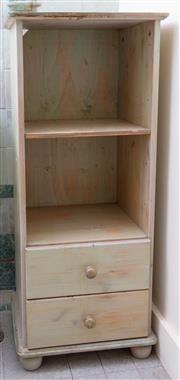 Sale 8990H - Lot 50 - A shabby chic bathroom cabinet with one shelf above two drawers, Height 108cm x Width 44cm x Depth 38cm